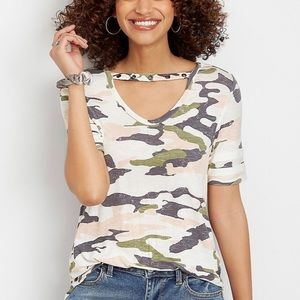 Maurice's camo cut out neck short sleeve top